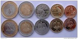 SUD SOUTH SUDAN 2015 SERIE 5 MONETE CON 2 BIMETAL 2-1 POUND 50-20-10 PIASTRES FDC UNC - Monete