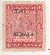 TRAVANCORE  State  1A  Revenue  Type 45  O/P  KERALA   #  98778   Inde India Indien Fiscaux Fiscal Revenue - Travancore