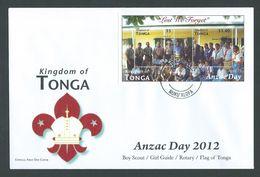 Tonga 2012 Anzac Day Miniature Sheet On Official FDC Unaddressed - Tonga (1970-...)