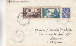 France - Lettre De 1940 - Oblit Rouan Pl De L'Hôtel De Ville - Exp Vers Leuven En Belgique - Soldat - Fusils - Cartas