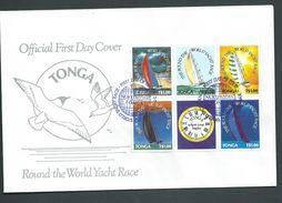 Tonga 1991 World Yacht Race Block Of 5 + Label On Official FDC Unaddressed - Tonga (1970-...)