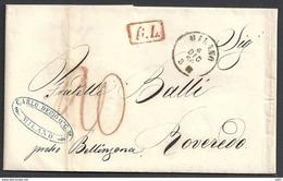 1860 - Piego Da Milano Per La Svizzera (Cantone Grigioni) - Tariffa Di Raggio Limitrofo - Sardinia