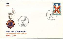 Turkey FDC 5-4-1989 25th Of Ankara Lions Club With Cachet - 1921-... République