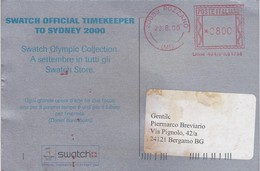 STORIA POSTALE  - CARTOLINA PUBBLICITARIA DELLA SWATCH OFFICIAL TIMEKEEPER TO SYDNEY 2000 - Storia Postale
