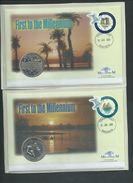Tonga 2000 Millennium Clock & Dove 2 X PNC Covers With Kiribati Or Seychelles Coins - Tonga (1970-...)