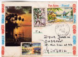 996 French Polynesia Lettre 1966 Papeete To Hungary Moorea Tuamotu Harpoon Fishing - Cartas