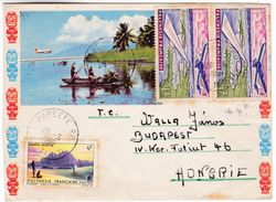 997 French Polynesia Lettre 1966 Papeete To Hungary Faaa Airport Bora-Bora - Cartas