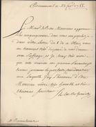 Lettre De Beaumenil Du 23 Fevrier 1755 Du Comte De Graville Ancien Lieutenant Général Commandant Du Roussillon 1748 1753 - Poststempel (Briefe)