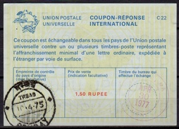 INDE / INDIA La22A 1,50 RUPEE International Reply Coupon Reponse Antwortschein IRC IAS O BOMBAY 10.04.75 Redeemed USA - Briefe