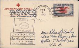 Lettre American Red Cross CAD AMERICAN BASE FORCES  FEB 1 1943 APO Logan Village Australie Censured World War II - Briefe U. Dokumente