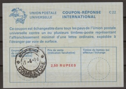 INDE / INDIA La23A 2,50 RUPEES International Reply Coupon Reponse Antwortschein IRC IAS  O COIMBATORE 19.4.80 - Briefe