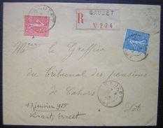 1928 Sauzet (lot) Belle Enveloppe Recommandée Pour Cahors Voir Photos - Poststempel (Briefe)