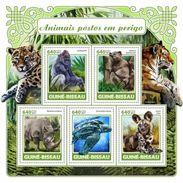 Guinea Bissau 2017, Animals, Tiger, Rhino, Turtle, Leopard, 5val In BF - Rhinozerosse