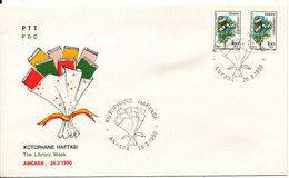 Turkey FDC 26-3-1990 The Library Week With Cachet - FDC