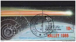 Halleyscher Komet 1986 Raumfahrt Laos Block 112 O 2€ Flug über Oberfläche Planet Erde Comet Bloc Space Sheet Bf Lao - Laos