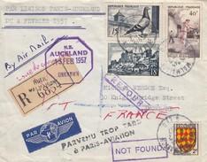 LIAISON PARIS-AUCKLAND 4.02.1957 - RECOMMANDE RUEIL-MALMAISON 3.2.1957 POUR AUCKLAND + VERSO 2 TIMBRES 4 CACHETS / 1 - Marcophilie (Lettres)