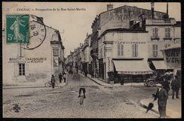 CPA - Cognac - Perspective De La Rue Neuve Saint Martin - Magasins - Café De La Presse - Bon état - Cognac