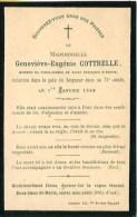 FAIRE-PART De Geneviève -Eugénie Cottrelle 1er Janvier 1896 - Overlijden