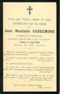 FAIRE-PART De Jean Maximin Sarremone  Le 4 Aout 1894 - Obituary Notices