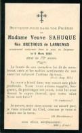 FAIRE-PART Du Décès De Madame Veuve Sahuqué Le 9 Mars 1892 - Obituary Notices
