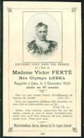 FAIRE-PART Du Décès De Madame Victor Ferté Le 2 Décembre 1920 - Overlijden