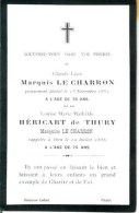 FAIRE-PART Du Décès Du Marquis Et De La Marquise  Le Charron 13 Novembre 1881 Et 19 Juillet 1886 - Obituary Notices