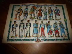 1939  Planche De Couleur (uniformes) LE FANTASSIN FRANCAIS A TRAVERS LES SIECLES  (dimension 55.0 Cm X 35.5 Cm ) - Uniforms