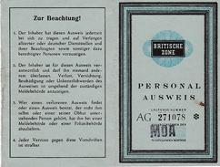 WW2 - 1946 - AUSWEIS  ZONE BRITANNIQUE - 2 Scans - - Documents Historiques