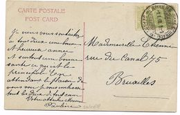 Brugstempel / Cachet à Pont  ANVERS (Gare Centrale) Départ   1.01.08   Fantasiekaart - 1893-1907 Wapenschild