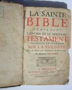 Bible Protestante Saci Sacy Biblia Bibbia Bibel Bijbel 1705 Livre Ancien XVIII è Siècle LYON Poppens Bruxelles Alès - 1701-1800