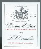 étiquette Vin Chateau  Montrose   Saint Estephe  1967  L Charmolüe - Bordeaux