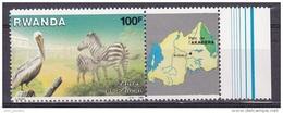T]  Timbres + Vignette ** Stamp + Label ** Rwanda Parc De L´ Akagera Park Pelican Zèbre Zebra 1986 - 1980-89: Neufs