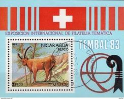 EXPO TEMBAL Basel 1983 Nicaragua Block 149 O 2€ Steinbock In Alpen Hb M/s Philatelic Bloc Ss Fauna Sheet Bf America - Nicaragua