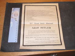 AVIS MORTUAIRE DU IIIe GRAND REICH ET DE LEUR MAITRE ADOLF HITLER - Ed Heytens Bressoux - Rédigé Sur Le Ton De L'humour. - 1939-45
