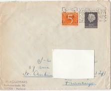 1954 - Enveloppe Lettre -  Nederland LEIDEN - Pour SAINT-AUBIN-LES-ELBEUF - Vignette TBC - Esperanto - Marcophilie