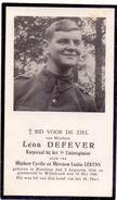 Devotie - Doodsprentje - Soldaat Korporaal Leon Defever - Bredene 1918 - Gesneuveld Willebroek 1940 - Avvisi Di Necrologio