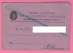 Milizia Volontaria Sicurezza Nazionale Cartolina Precetto Chiamata Al Servizio 1938 Malo Vicenza - Documents