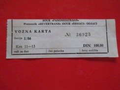"""X2- Bus Ticket -""""Panoniatrans-Severtrans"""" Odzaci,100 Dinara, Serbia, - Bus"""