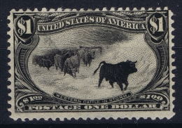 USA Mi Nr 124 Sc 292  Yv 136 MH/* Falz/ Charniere $1 Trans Mississippi Photo Certificate Pigeron - 1847-99 General Issues