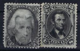 USA Mi Nr 17 + 22  Sc Nr  73 + 74 Yv Nr 27 + 28  Obl./Gestempelt/used  1861 - 1866 - 1847-99 General Issues