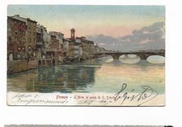 FIRENZE - L'ARNO AL PONTE DI S.TRINITA'  VIAGGIATA FP - Firenze