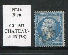FRANCE- Y&T N°22- GC 932 (CHATEAULIN 28) - Marcophilie (Timbres Détachés)