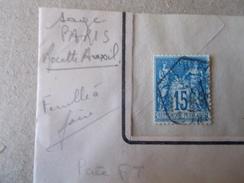 SAGE PERCE Perfin Stamp F T PERFORATION LA FONCIERE TRANSPORTS PARIS Recette Auxilliaire Urbaine - 1876-1898 Sage (Type II)