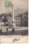 UN SALUTO DA BELLINZONA - MONUMENTO DELL'INDIPENDENZA -POSTE LOCARNO 1906 - TI Ticino