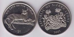 SIERRA LEONE 1 DOLLARO 2001 BIG CAT PUMA FDC UNC - Sierra Leone