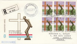 LUXEMBOURG FDC Sur Lettre Recommandée 25/2/1982 - Hinzerter KRAIZ Monument Résistance Déportation - FDC