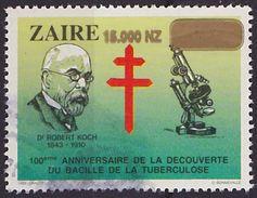 Timbre Oblitéré N° 1121(Michel) Zaïre 1995 - Robert Koch Surchargé - Zaïre