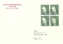 "Sonderstempel  ""Bernisches Kantonal Gesangsfest, Thun""            1947 - Suisse"