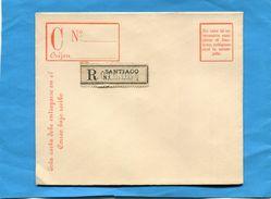 CHILI- REGISTERED LETTER Entier Postal-postal-stationnery-15c Violet  Papier Crème Neuve  -république Années 1890 - Chile