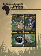 GHANA 2014 ** Endangered Animals Monkeys Rhino Affen M/S - OFFICIAL ISSUE - DH9999 - Affen